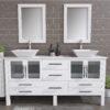 8119XLWF_BN_2 White XL Double Porcelain Vessel Sink Vanity Set