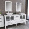 8119XLWF_CP_1 White XL Double Porcelain Vessel Sink Vanity Set