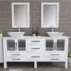 8119XLWF_CP_2 White XL Double Porcelain Vessel Sink Vanity Set
