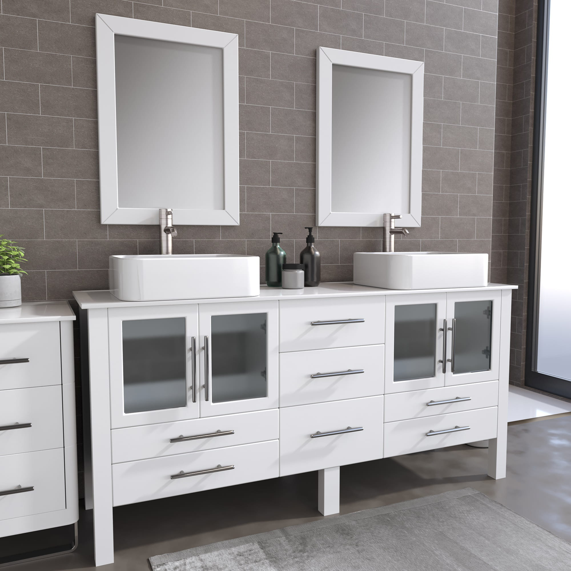 8119XLW_BN_1 White XL Double Porcelain Vessel Sink Vanity SetulG0kgs