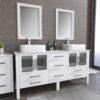 8119XLW_CP_1 White XL Double Porcelain Vessel Sink Vanity Set