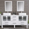 8119XLW_CP_2 White XL Double Porcelain Vessel Sink Vanity Set