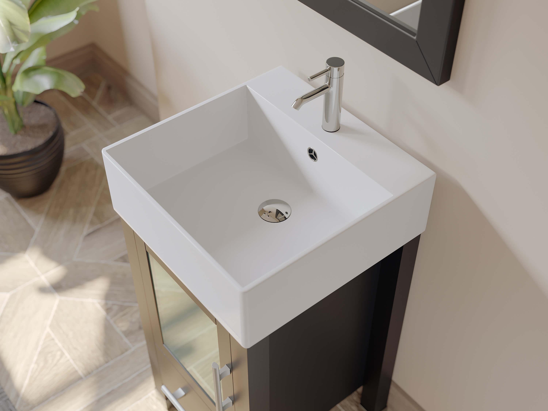 Espresso Wood And Porcelain Vessel Sink Bahroom Vanities
