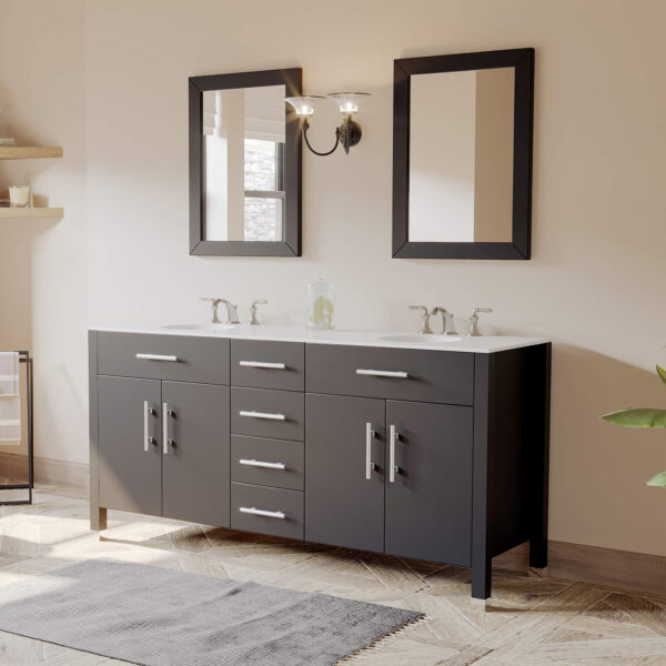 espresso double basin sink vanity, dual sink vanity,