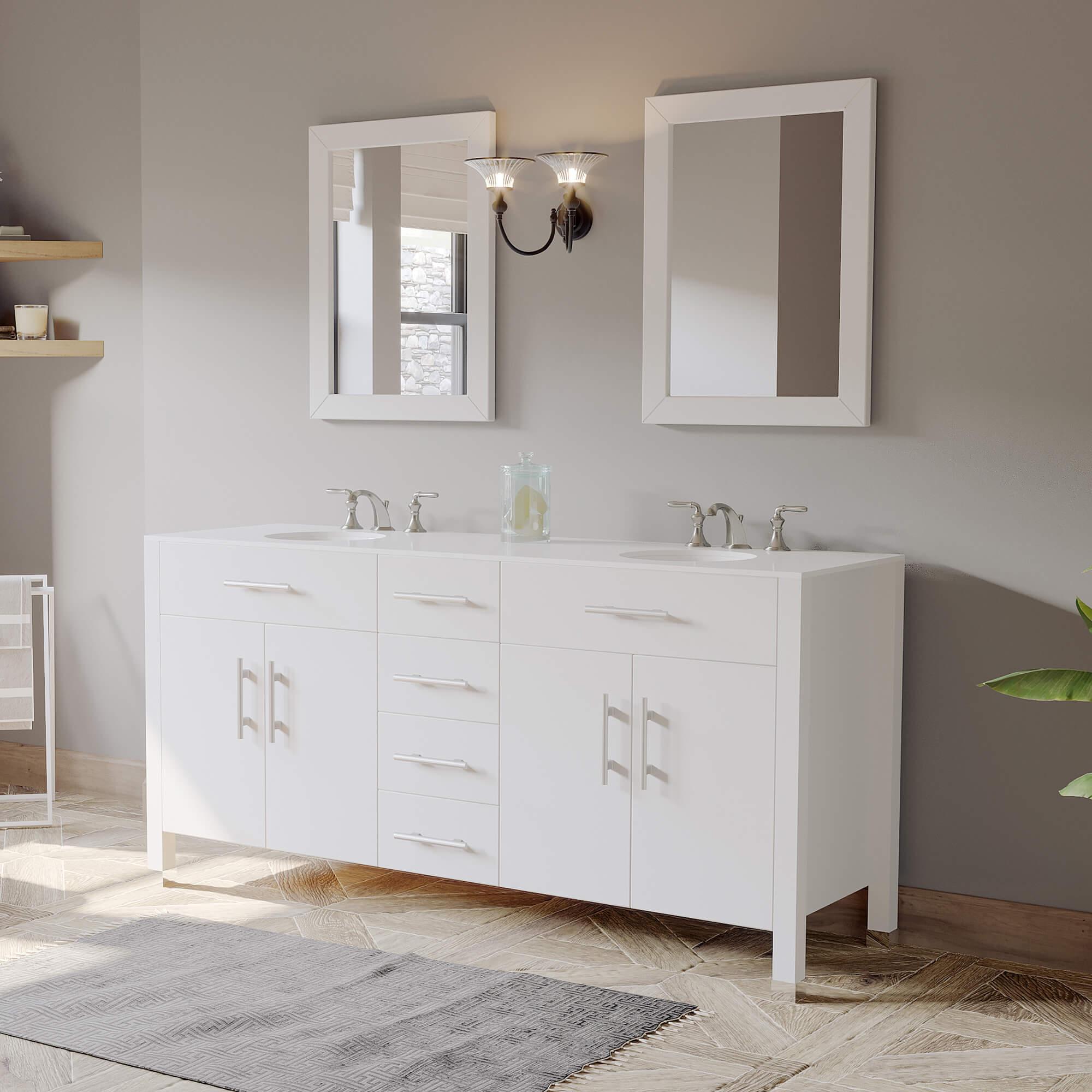 white bathroom vanity set, double basin sinks,