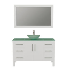 8116BW White Bathroom Vanity w/Brushed Nickel Faucet