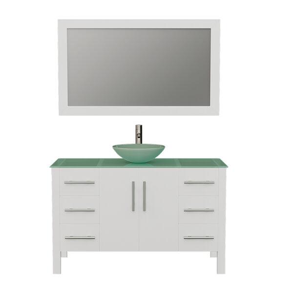 8116BW White Bathroom Vanity w/Brushed Nickel Faucet