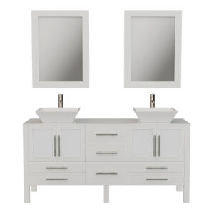 8119FW White Vanity Set w/Brushed Nickel Faucets