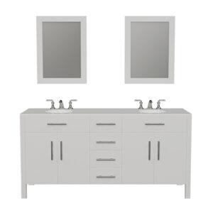8162 White Vanity w/Mirrors