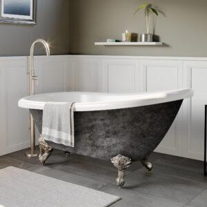 clawfoot slipper tub, acrylic slipper tub, scorched platinum tub, 06