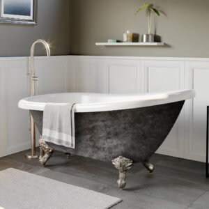 acrylic slipper tub, clawfoot tub, scorched platinum tub,