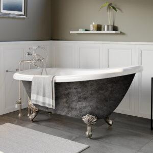 acrylic clawfoot tub, slipper tub, scorched platinum finish,