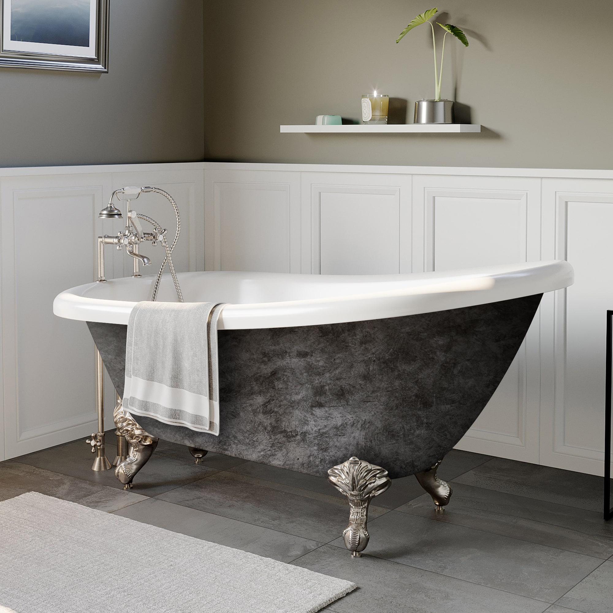 clawfoot slipper tub, acrylic slipper tub, scorched platinum tub, british telephone faucet,