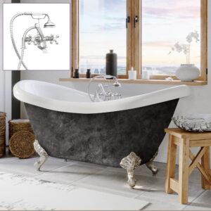 acrylic double slipper tub, scorched platinum finish,