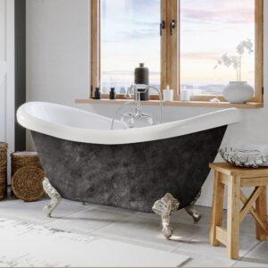 clawfoot tub, double slipper tub,