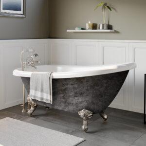 clawfoot slipper tub, scorched platinum tub,