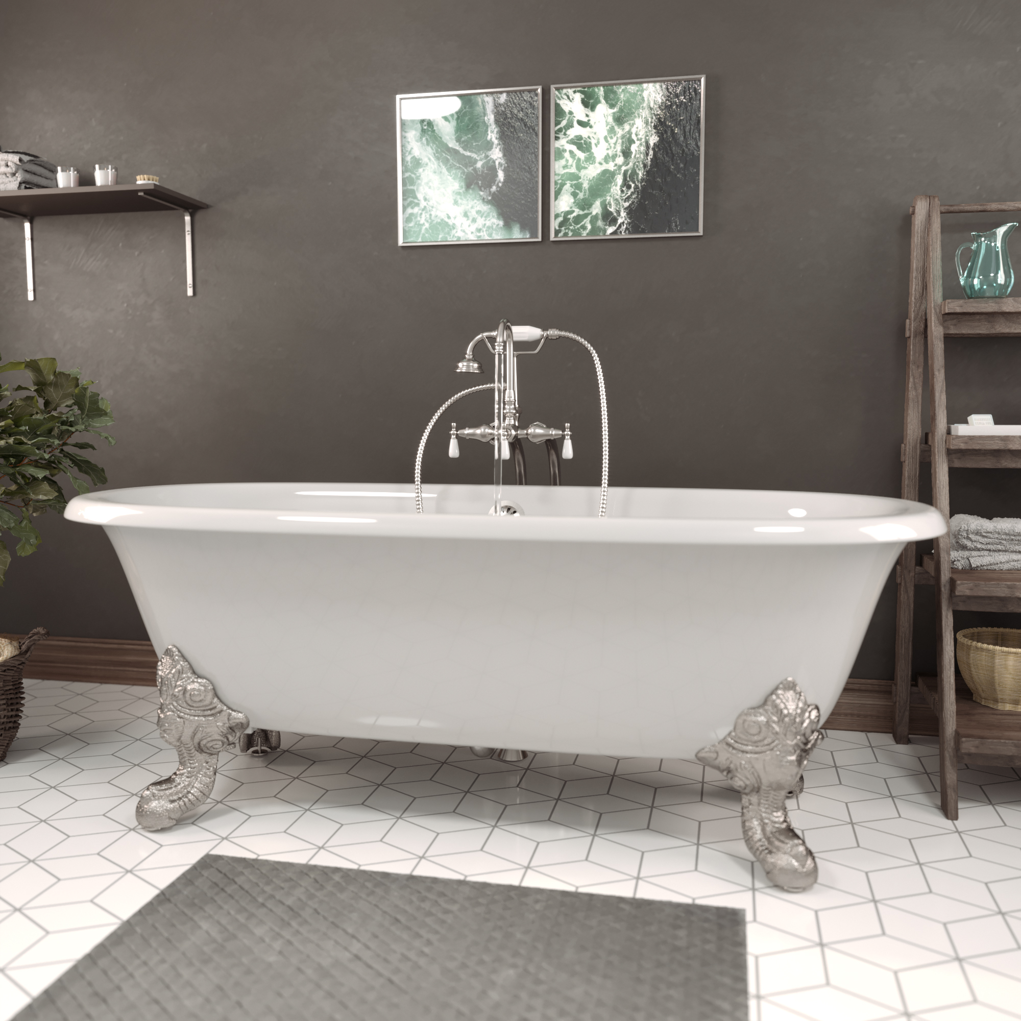 Cast Iron Double Ended Clawfoot Tub w/Faucet DE72-398684-BN