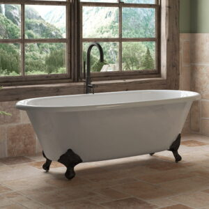 cast iron double end clawfoot tub with cam150 faucet in orb 02