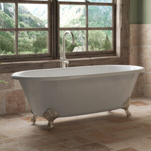 double ended clawfoot tub w/brushed nickel 02