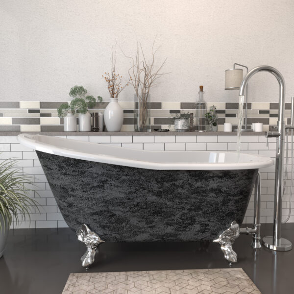 Cast Iron Clawfoot Tub, Scorched Platinum Finish ST61-NH-150-CP-SP