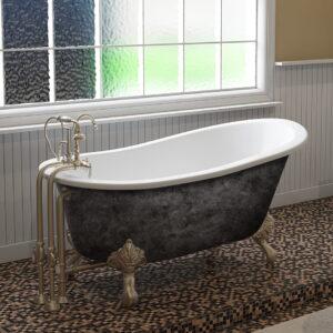 cast iron tub, clawfoot tub, slipper tub, scorched platinum finish, 15