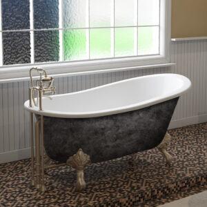 cast iron tub, clawfoot tub, slipper tub, scorched platinum finish, 01