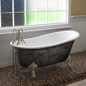 cast iron tub, clawfoot tub, slipper tub, scorched platinum finish, 09