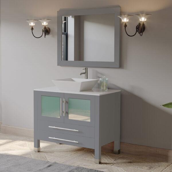 bathroom vanity set, grey vanity, vessel sink vanity, 02