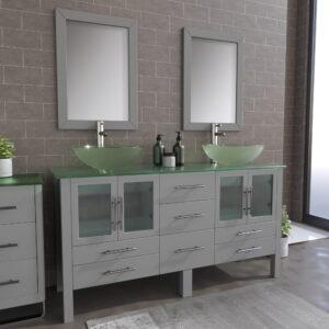 8119BG-BN Gray Double Sink Vanity Set