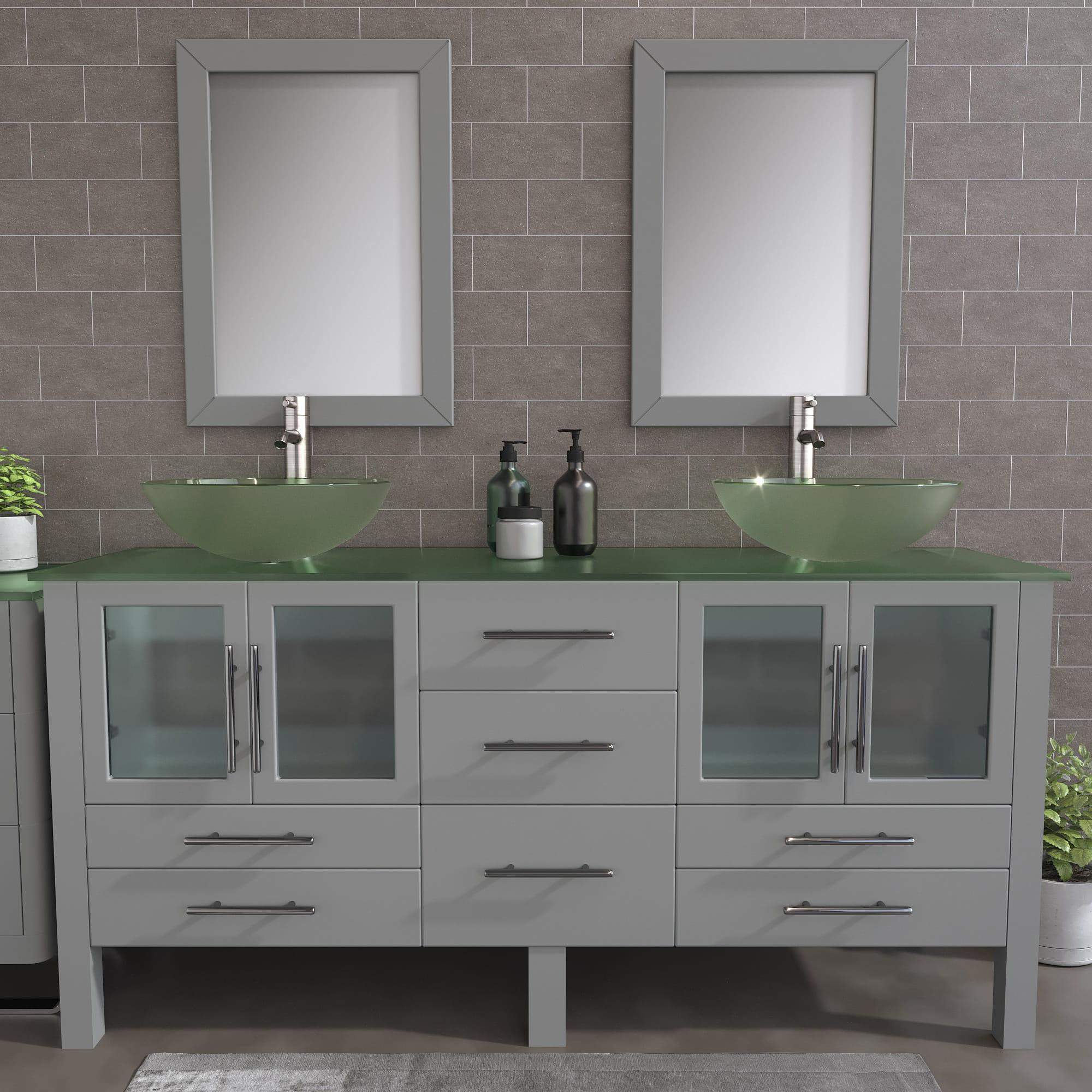 8119BXLG_BN_2 Gray XL Double Glass Vessel Sink Vanity Set