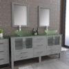 8119BXLG_CP_1 Gray XL Double Glass Vessel Sink Vanity Set