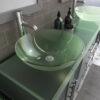 8119BXLG_CP_3 Gray XL Double Glass Vessel Sink Vanity Set