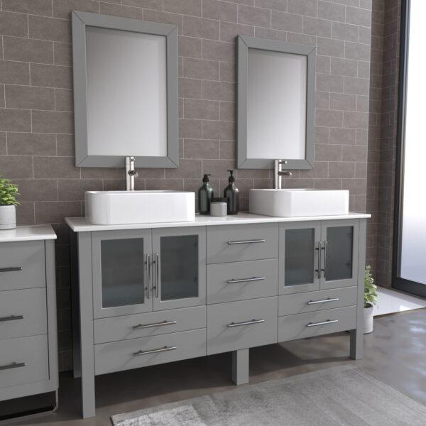 8119G_BN_1 Gray Double Porcelain Vessel Sink Vanity Set