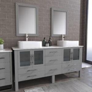 8119XLG_BN_1 Gray XL Double Porcelain Vessel Sink Vanity Set