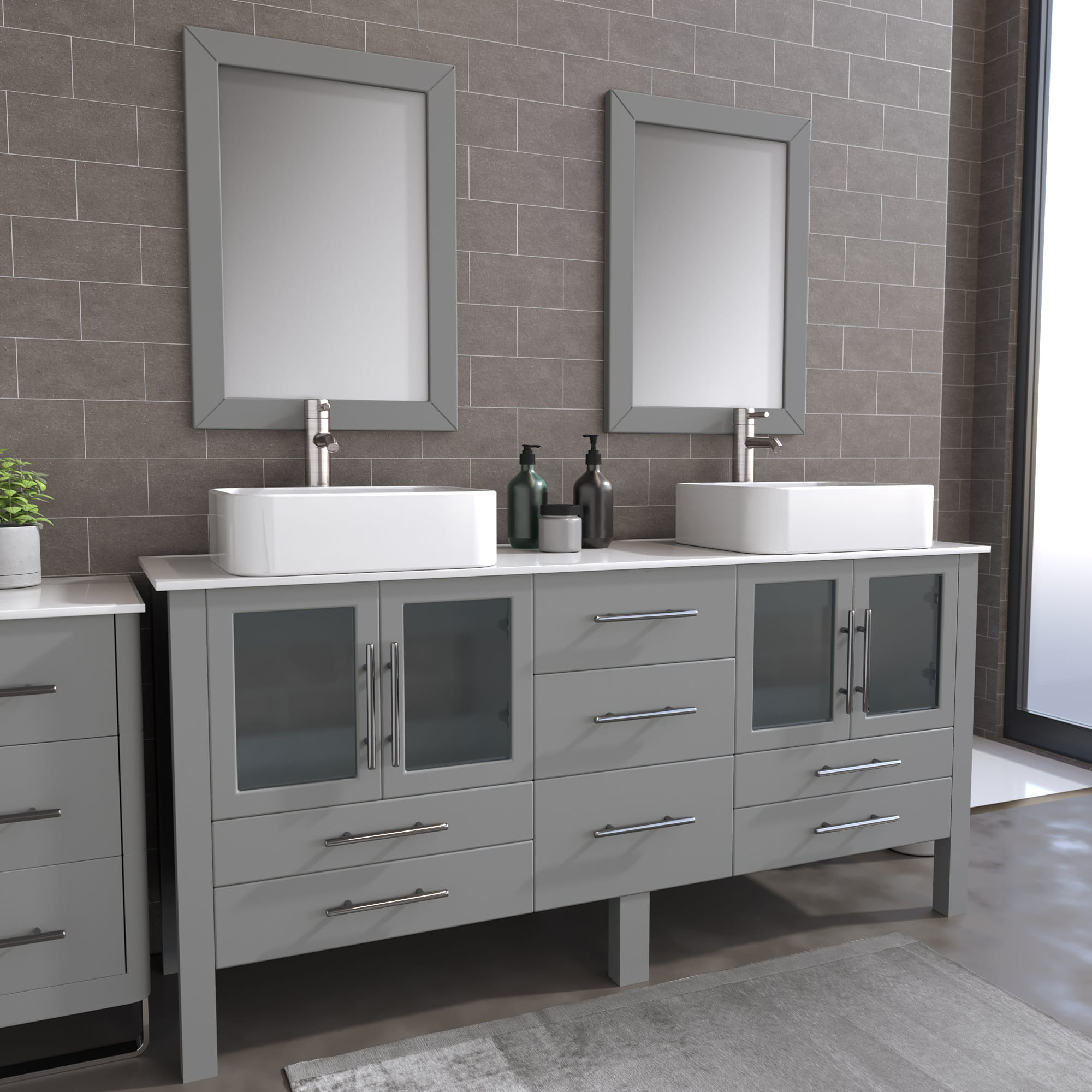 8119XLG_BN_1 Gray XL Double Porcelain Vessel Sink Vanity Set