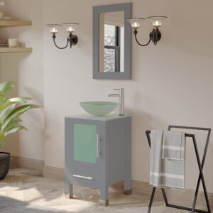 single glass vessel sink vanity in grey 05