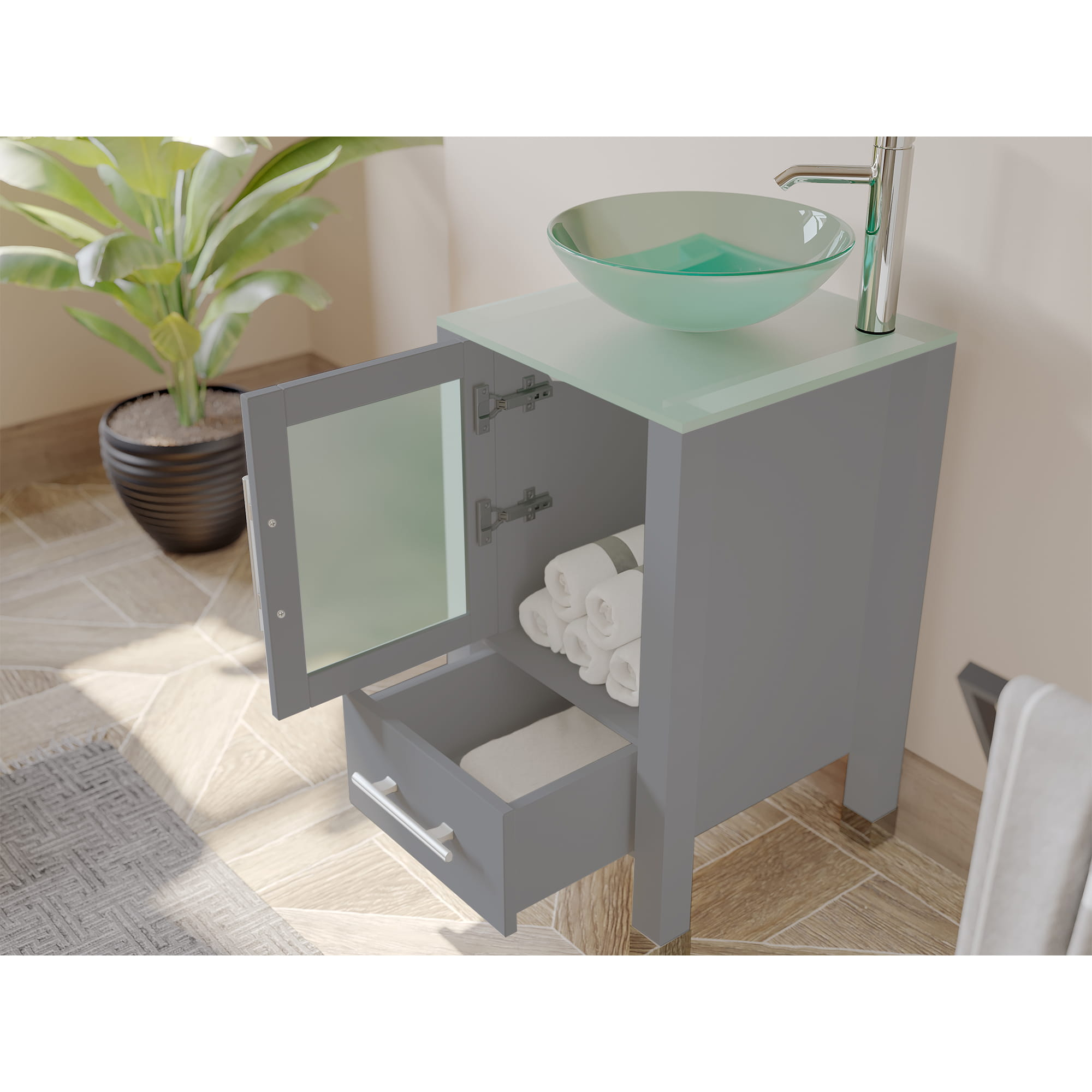 18 Inch Gray Wood And Glass Vessel Sink Vanity Set