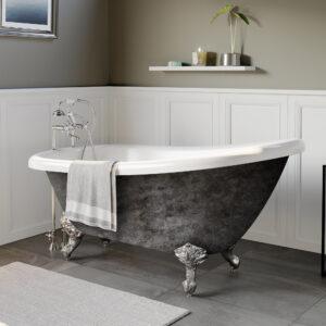 clawfoot slipper tub, scorched platinum tub, 01