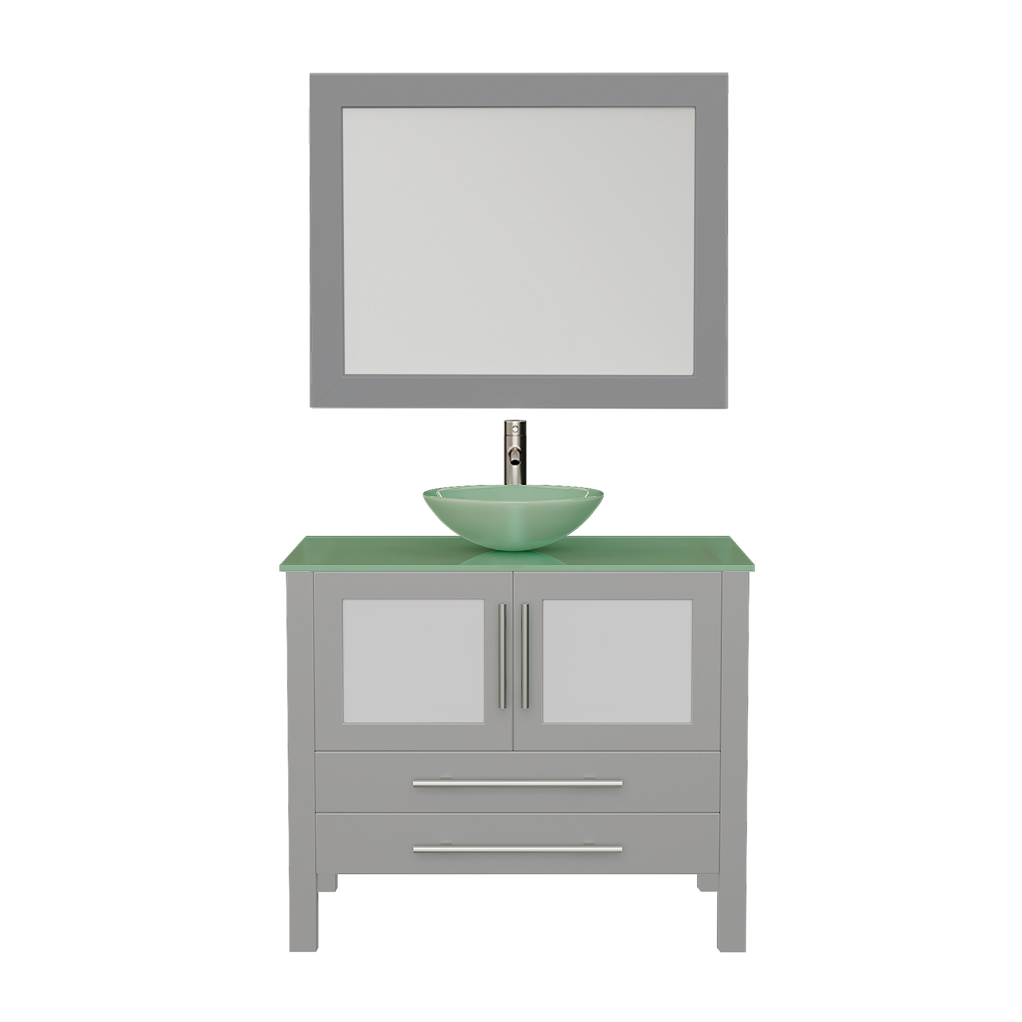 811BG Gray Vanity Set w/Brushed Nickel Faucet