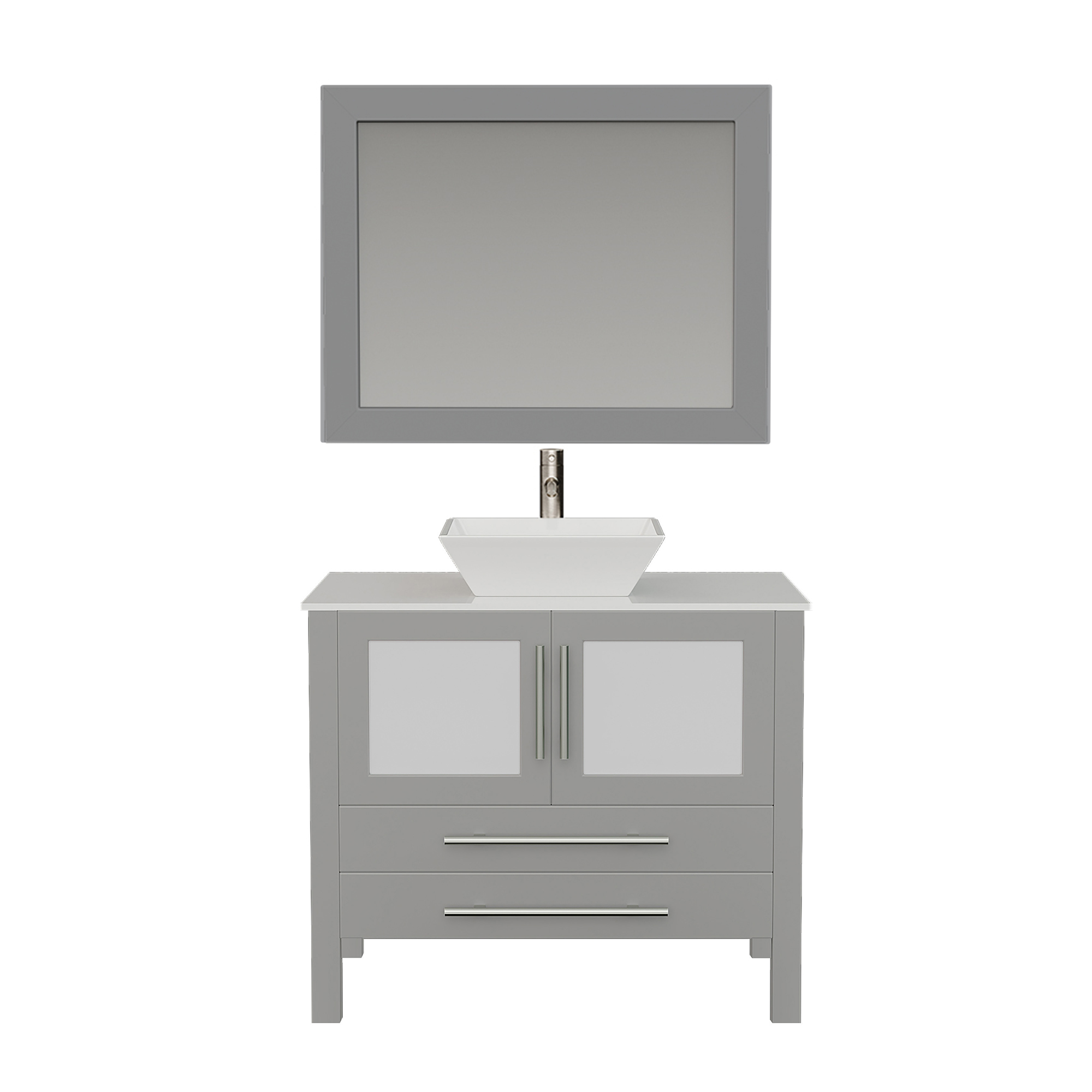 8111G Gray Vanity Set w/Brushed Nickel Faucet