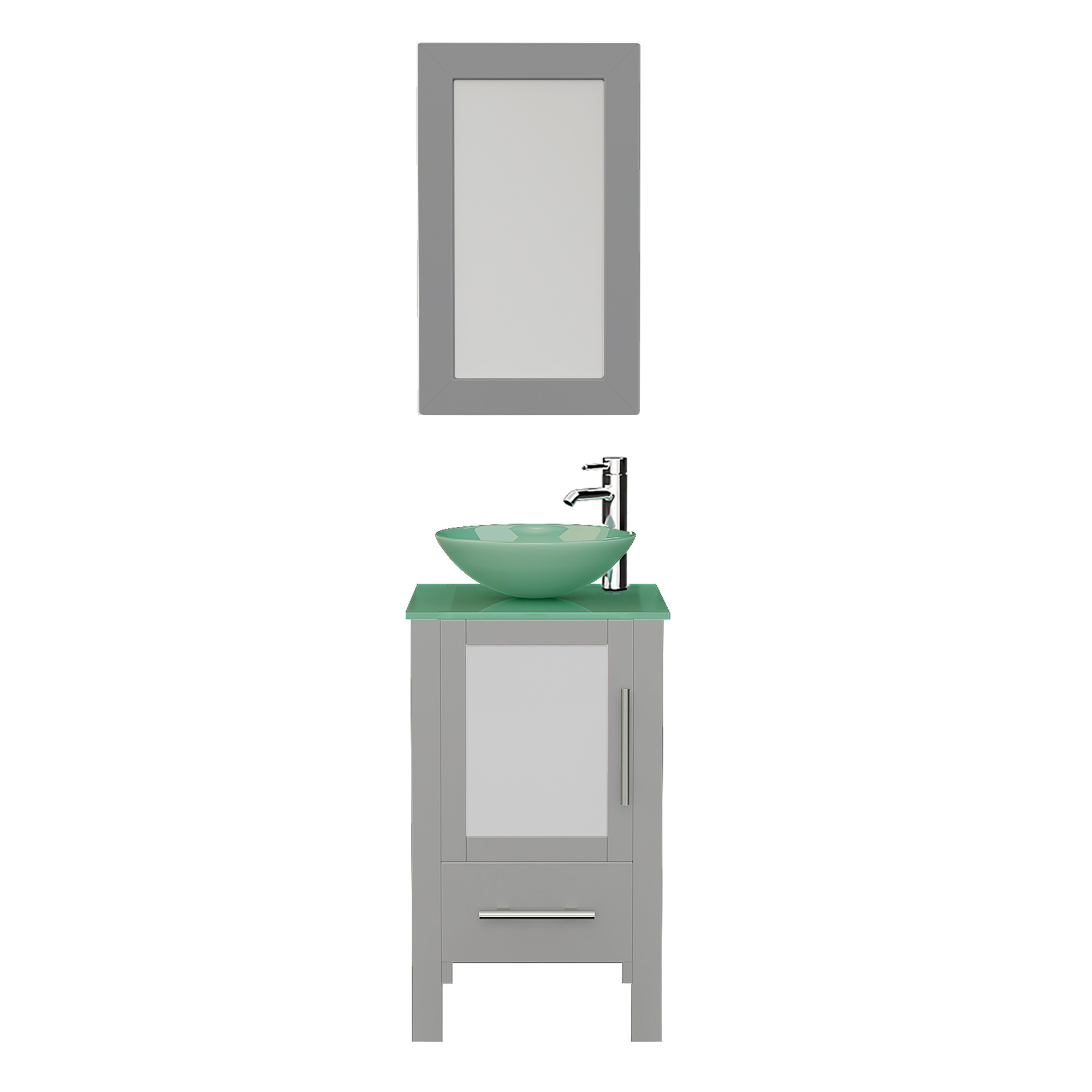 18 Gray Wood And Glass Vessel Sink Vanity Set 8137bg