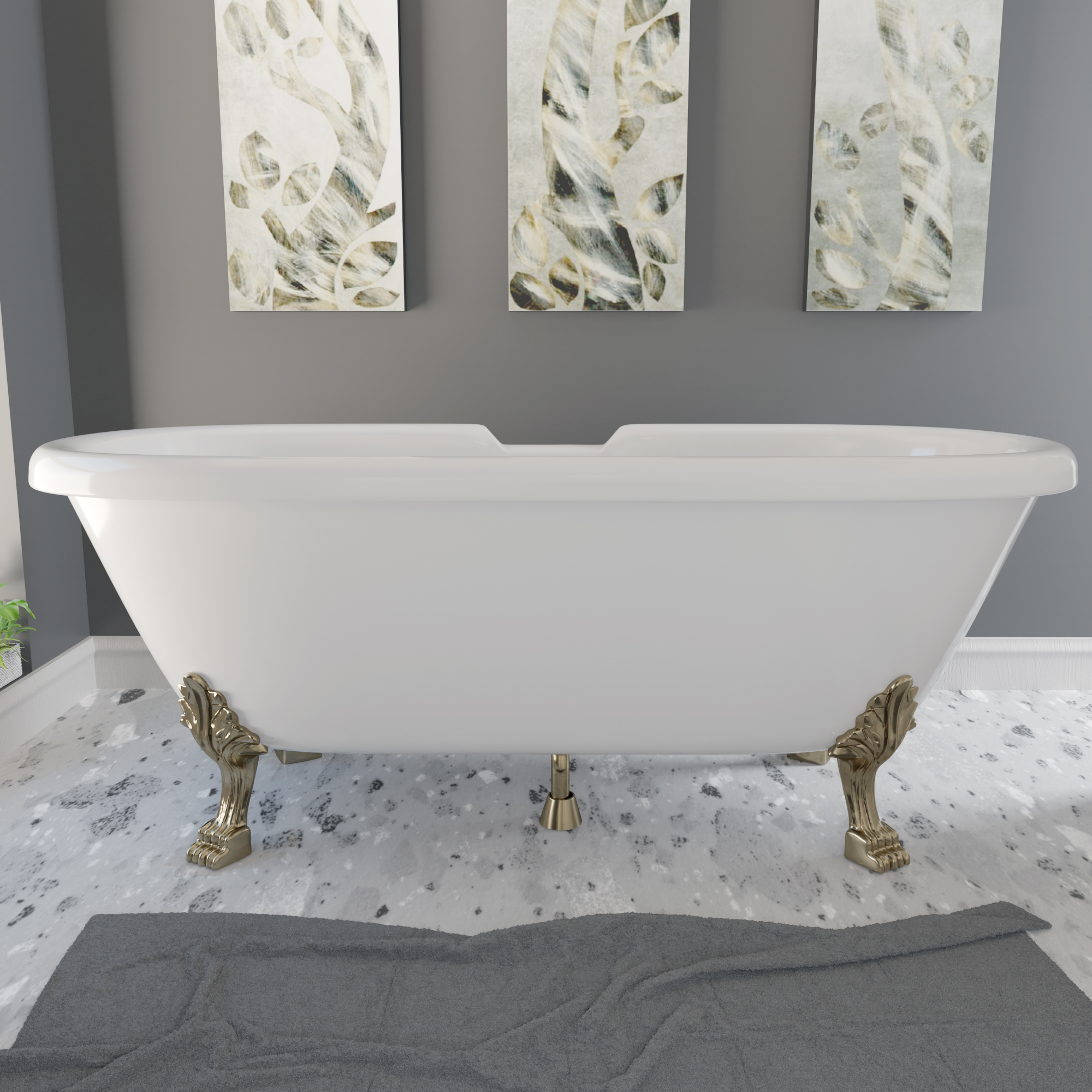 "69"" Double Ended Tub Lion Paw Feet AB"
