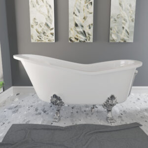 62 inch Mineral Composite slipper tub chrome lion paw feet