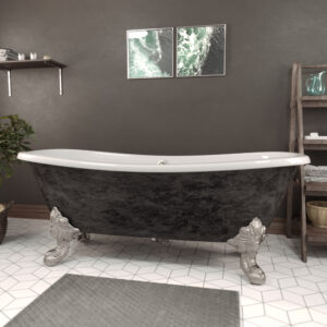 Cast Iron Double Slipper Clawfoot Tub Scorched Platinum DS72-BN-SP